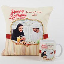 Romantic Personalized Mug N Cushion: