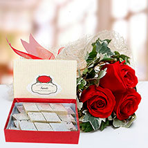 Red Roses Bouquet and Kaju Katli Combo: Birthday Flowers With Sweets