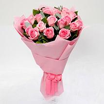 Passionate 20 Pink Roses Bouquet: Romantic Flowers