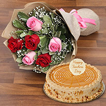Rose Bouquet  and Butterscotch Cake For Teacher: Gifts For Teacher's Day