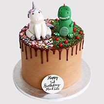 Dinosaur and Unicorn Cake: Dinosaur Theme Cakes