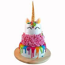 Happy Unicorn 3 Layered Cake: Unicorn Cakes