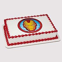 Iron Man Logo Photo Cake: Iron Man Birthday Cake