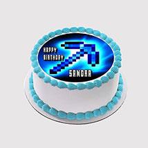 Minecraft Blue Arrow Photo Cake: Minecraft Birthday Cake