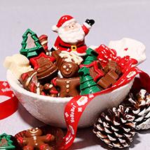 Santas Bowl Of Assorted Chocolates: christmas chocolates