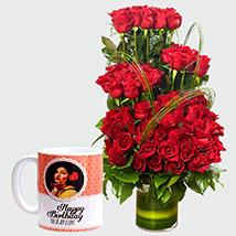 Red Roses Arrangement and Personalised Mug: