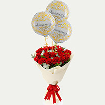 Red Roses Bouquet with Anniversary Balloons: