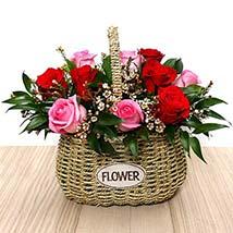 Red and Pink Roses Mini Basket: Basket Arrangements