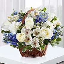 Blue and White Blooms Basket: Basket Arrangements