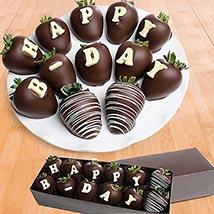 Birthday Belgian Dark Chocolate Strawberries: Chocolates Delivery in Al Ain