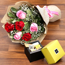 Mixed Roses Bouquet and Patchi Chocolate Combo: Chocolate Bouquet