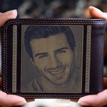 Personalised Mens Wallet With Photo: Engraved Pen