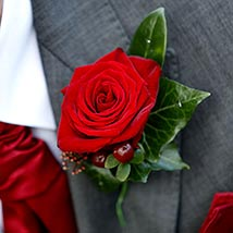 Stunning Red Rose boutonniere: Floral Jewellery