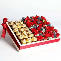 Exotic Roses and Chocolates Arrangement: Buy Anniversary Chocolates