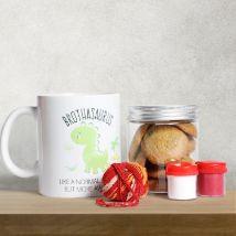 Brothasaurus Mug with Cookies: Bhai Dooj Gifts for Brother