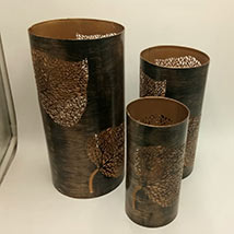 Brown Pillar Candle Stand Set of 3: Free Shipping Gifts
