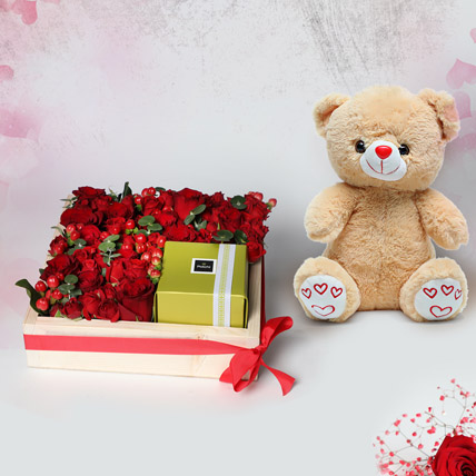 Arrangement of Roses and Patchi: Flowers and Teddy Bears