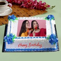 Birthday Floral Photo Cake: Photo Cakes