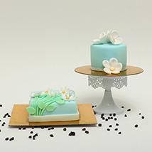 Fondant Icing Chocolate Mono Cake Duo: Newborn Baby Gifts