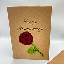 Happy Anniversary Red Rose Handmade Greeting Card: Greeting Cards
