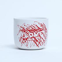 Love  White Ceramic Planter: