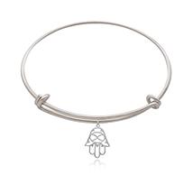 Silver Plated Brass Divine Hamsa Charm Bangle: Artificial Jewellery