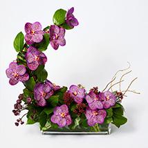 Striking Mixed Flowers Rectangular Vase Arrangement: Eid Mubarak Flowers