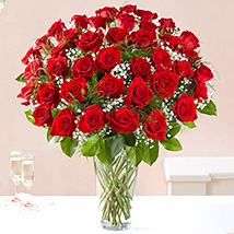 Bunch of 50 Scarlet Red Roses: Romantic Gifts