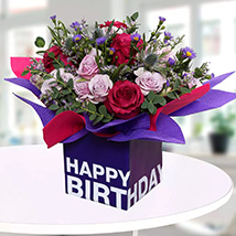 Mixed Flowers In Square Glass Vase: Birthday Gifts for Employees