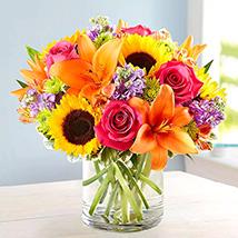 Vivid Bunch Of Flowers In Glass Vase: Premium Flowers
