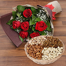 6 Red Roses Bouquet With Dry Fruits: Flowers and Dry Fruits