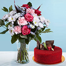 1 Kg red Velvet Cake Combo: Flowers and Cake