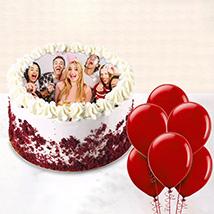 1 kg Red Velvet Photo Cake With Balloons: Birthday Flowers & Cakes