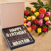 Multicolor Roses n Birthday Chocolates: Flowers and Chocolates
