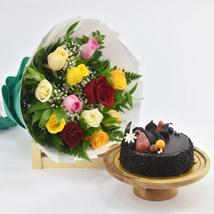 Dozen Multi Roses with Fudge Cake: Wedding Gifts