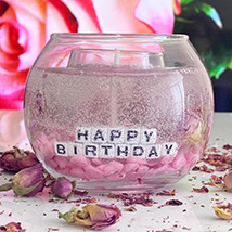 Personalised Handmade Pink Gel Candle: Home Decor Items