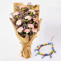 Pink Carnations Bouquet with Friendship Band: Friendship Day Bands