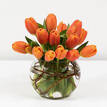 Beautiful Orange Tulips Fish Bowl: Tulip Flowers