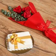 Roses Bouquet & Designer Mono Cake: Birthday Flowers & Cakes