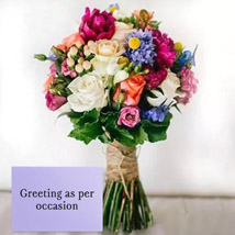Mixed Roses Bouquet With Greeting Card: Anniversary Flowers and Greeting Cards