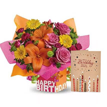 Birthday Flower Arrangement with Greeting Card: Flowers With Greeting Cards