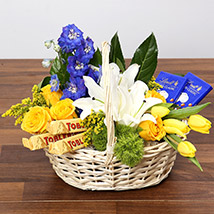Yellow and Blue Floral Basket With Chocolates: Anniversary Basket Arrangements