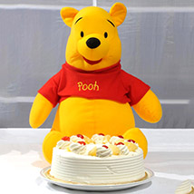 Pooh Soft Toy With Pineapple Cake:  Cake Delivery In Pakistan