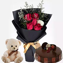 Chocolate Cake with Soft Toy & flowers: Send Gifts to Qatar