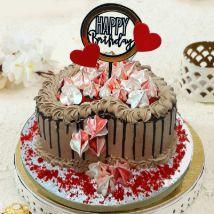 Heart Shaped Chocolate Buttercream Cake: Send Cake to Qatar