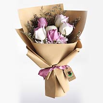 Purple & White Roses Bouquet: Send Gifts to Qatar