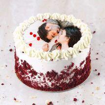Velvety Photo Cake For Anniversary: Send Cake to Qatar