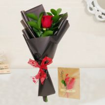 Red Rose Bouquet & Handmade Greeting Card: Send Gifts to Qatar